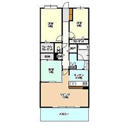 デュオヒルズつくば学園都市403号室[4階]の間取り