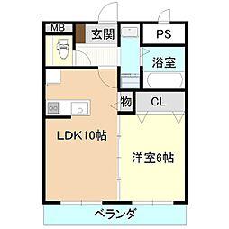 ひたち野桜風マンション 5階1LDKの間取り