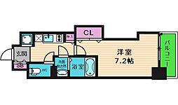 Luxe本町 15階1Kの間取り
