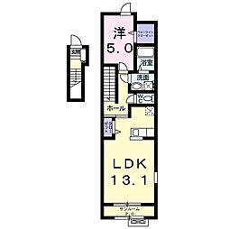 ベラドンナ 2階1LDKの間取り