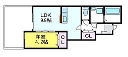 JR中央線 東小金井駅 徒歩10分の賃貸アパート 1階1LDKの間取り