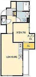 東京都江戸川区西小松川町の賃貸アパートの間取り