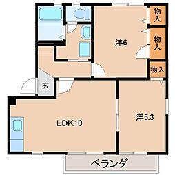 和歌山県和歌山市中島の賃貸アパートの間取り