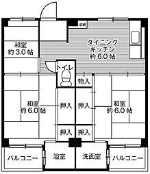 ビレッジハウス葛ノ葉1号棟[3階]の間取り