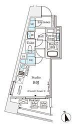 パークナードフィット南青山Vista 12階1Kの間取り