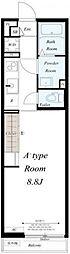 JR総武本線 東千葉駅 徒歩12分の賃貸マンション 3階1Kの間取り