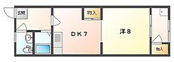 明日香ビル 2階1DKの間取り