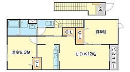 兵庫県姫路市網干区興浜の賃貸アパートの間取り