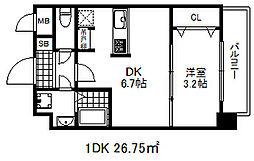 ソアシンナガタ 7階1DKの間取り