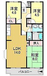 シティハイム平成[4階]の間取り