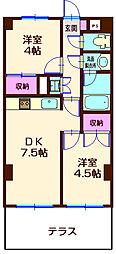 神奈川県横浜市神奈川区中丸の賃貸マンションの間取り
