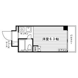 おおさか東線 城北公園通駅 徒歩11分の賃貸マンション 6階ワンルームの間取り