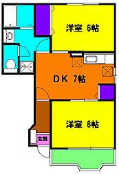 静岡県磐田市一言の賃貸アパートの間取り