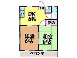 愛媛県松山市今在家2丁目の賃貸アパートの間取り