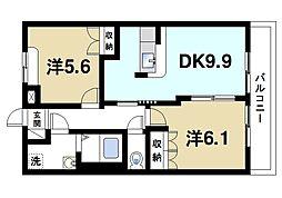 ファミール 2階2DKの間取り