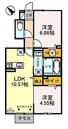 D-roomBrlliant 1階1LDKの間取り