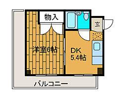 トップ15キシノ[3階]の間取り