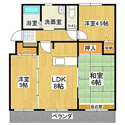 茨城県かすみがうら市下稲吉の賃貸マンションの間取り