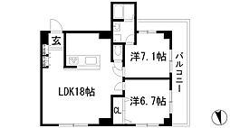 宝塚グリーンハイツ3号棟[3階]の間取り