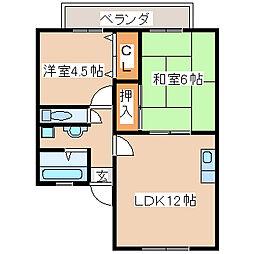 兵庫県神戸市西区池上2丁目の賃貸アパートの間取り