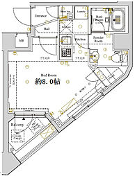 ディアレイシャス東京ベイ潮見 2階1Kの間取り