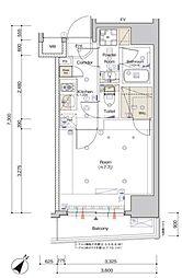 東京メトロ南北線 白金高輪駅 徒歩4分の賃貸マンション 4階1Kの間取り