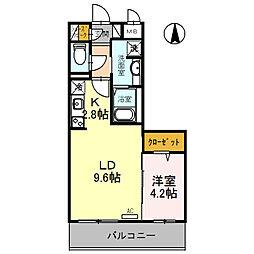 (仮)D-room旭ケ丘町 2階1LDKの間取り