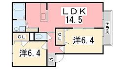シャーメゾン田井B棟[102号室]の間取り