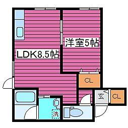 北海道札幌市北区拓北一条2丁目の賃貸アパートの間取り