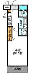 阪急千里線 豊津駅 徒歩2分の賃貸マンション 1階1Kの間取り