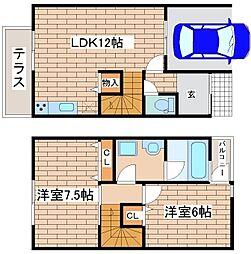 [テラスハウス] 兵庫県神戸市垂水区小束山手3丁目 の賃貸【/】の間取り