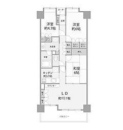 ハイホーム東林間[3階]の間取り