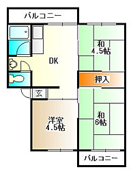 有野台5号棟[4階]の間取り