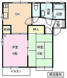 長野県千曲市大字打沢の賃貸アパートの間取り