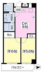 JR中央線 三鷹駅 バス10分 航研前下車 徒歩2分の賃貸マンション 4階2DKの間取り