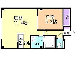 十三和マンション 3階1LDKの間取り