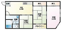 松宏コーポ[402号室]の間取り