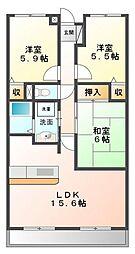 アンジュ東甲子園[2階]の間取り