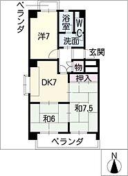 セゾンきさらぎ2棟[3階]の間取り