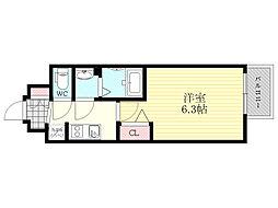 プレサンス新大阪ネオス 5階1Kの間取り