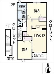 プラシードカーサ[2階]の間取り