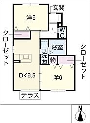 エクサン瀬戸口[1階]の間取り