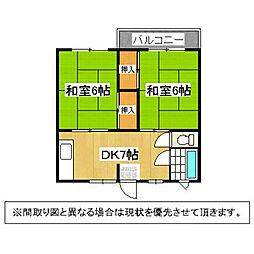 福岡県北九州市若松区大谷町の賃貸マンションの間取り