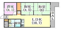 兵庫県三田市三田町の賃貸マンションの間取り