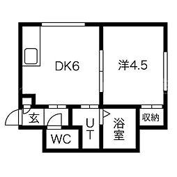 北海道札幌市豊平区豊平四条5丁目の賃貸アパートの間取り