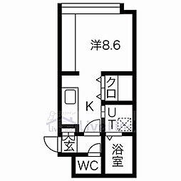 札幌市営東西線 菊水駅 徒歩4分の賃貸マンション 4階1LDKの間取り