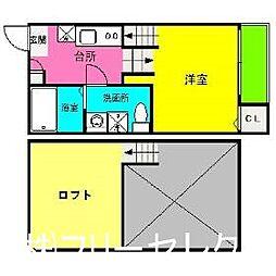 福岡県福岡市南区清水1丁目の賃貸アパートの間取り
