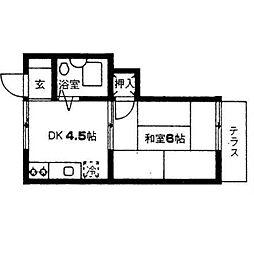 埼玉県越谷市大字下間久里の賃貸アパートの間取り