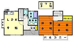 福岡県福岡市東区青葉1丁目の賃貸アパートの間取り