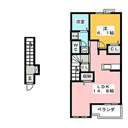 ハマナス A棟 2階1LDKの間取り